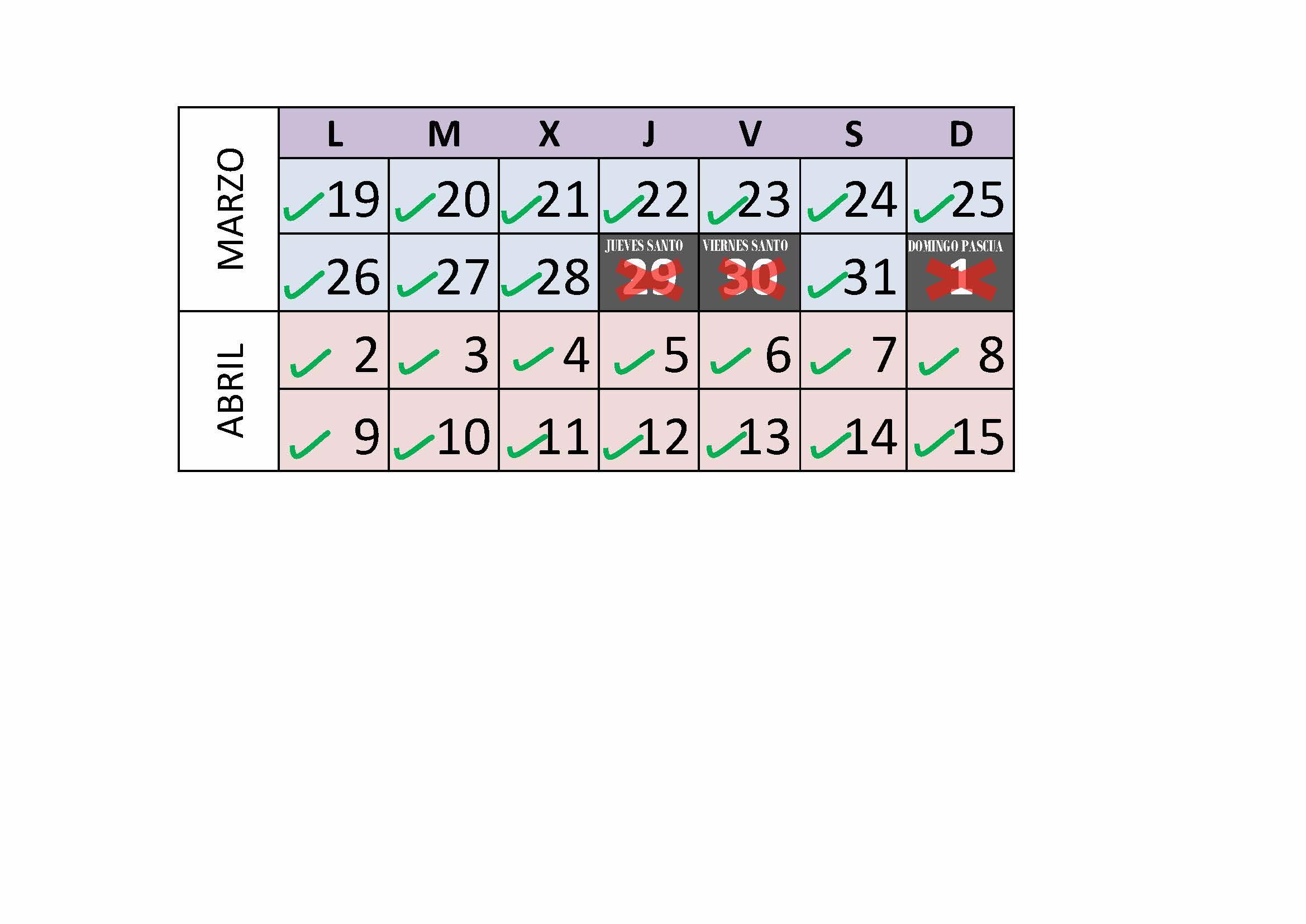 Semana Calendario.Calendario Apertura Centro Deportivo Ufv Semana Santa Centro